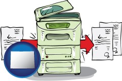 co map icon and a copier making copies