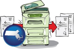 ma map icon and a copier making copies